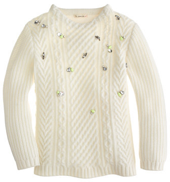J.Crew Girls' jeweled cable sweater