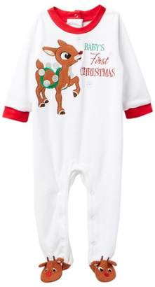 Rudolph the Red-Nosed Reindeer Baby's First Christmas Velour Footie (Baby)