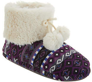 Cuddl Duds Faux Fur Lined Ankle Boot Slipper w/Foam Insole
