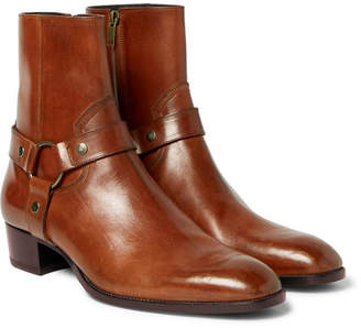 Saint Laurent Wyatt Burnished-Leather Harness Boots - Tan