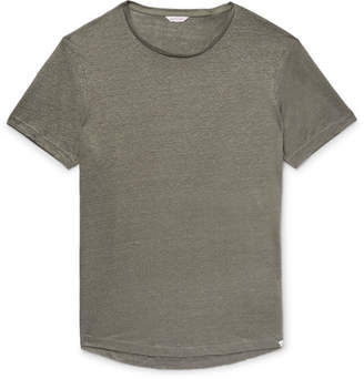 Orlebar Brown Ob-t Slim-fit Slub Linen-jersey T-shirt - Gray green