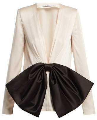 Givenchy - Bow Front V Neck Satin Blouse - Womens - Black White