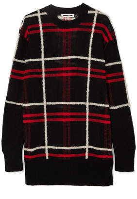 McQ Oversized Checked Linen-blend Sweater - Black