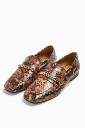 Topshop LORENZO Snake Square Toe Loafers
