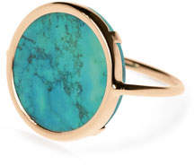 ginette_ny Fallen Sky 18k Rose Gold Turquoise Disc Ring, Size 7