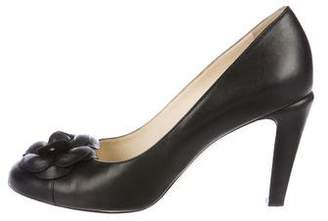 Chanel Camellia Leather Pumps