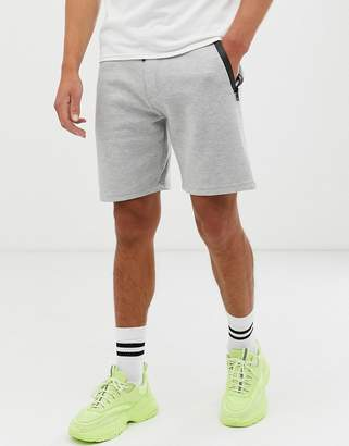 Bershka jogger shorts with pocket detail in light gray