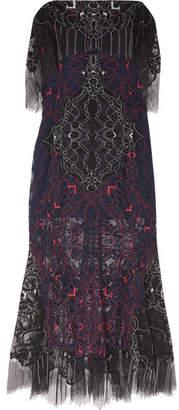Jonathan Simkhai Embroidered Lace Midi Dress - Midnight blue