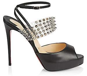 Christian Louboutin Women's Levitagirl 120 Studded Translucent & Leather Peep Toe Sandals