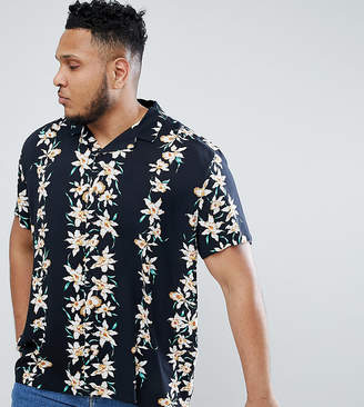 Asos DESIGN Plus regular fit viscose shirt with hawaiian stripe