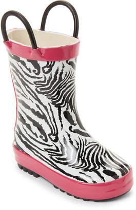 Lilly Of New York (Toddler Girls) White & Black Zebra Rain Boots