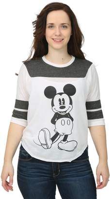 Freeze Juniors Mickey Mouse 3/4 Sleeve Varsity Burnout Juniors Shirt