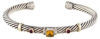David Yurman Citrine & Garnet Renaissance Three Station Bracelet