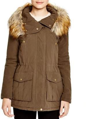 DKNY Faux Fur Trim Hooded Anorak