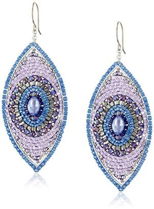 Miguel Ases Rainbow Hydro-Quartz and Miyuki Bead Marquis Drop Earrings