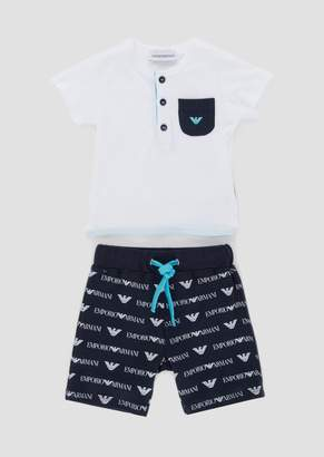 Emporio Armani T-Shirt And Bermuda Shorts Outfit In Cotton Jersey