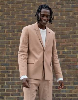 Asos boxy blazer in beige linen