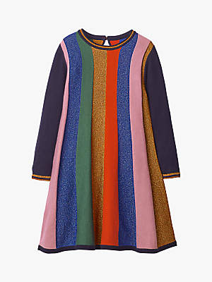 Boden Mini Girls' Sparkly Stripe Knitted Dress, Rainbow