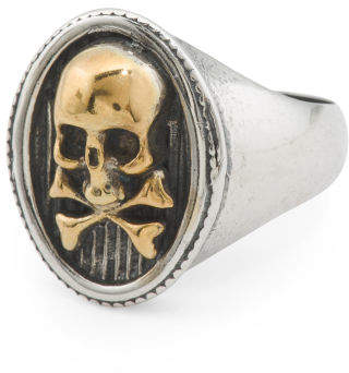 Men's Made In Italy Oxidized 925 Silver And Gold Plated Skull Ring