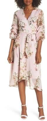 Gabby Skye Floral Tiered Sleeve Chiffon Dress