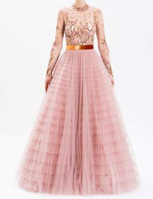 J. Mendel Dusty Rose Floral Embroidered Full Skirt Tulle Gown
