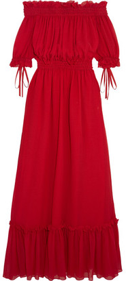 Alexander McQueen - Off-the-shoulder Shirred Cotton And Silk-blend Crinkled-chiffon Maxi Dress - IT40 $3,175 thestylecure.com