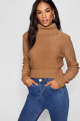 boohoo Tall Soft Knit Roll Neck Crop Jumper