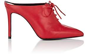 Barneys New York Women's Leather Lace-Up Mules-Red