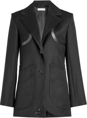 Nina Ricci Wool Blazer with Leather Trims