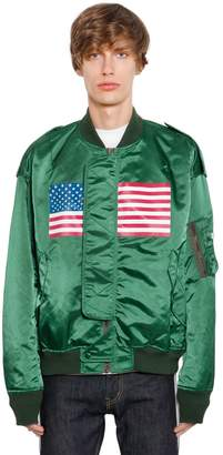 Facetasm Us Flag Printed Satin Bomber Jacket