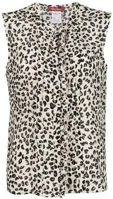 Max Mara leopard print ruffled blouse