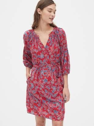 Gap Print Peasant Sleeve Smock Dress