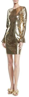 MICHAEL Michael Kors Flounce-Sleeve Sequined Dress