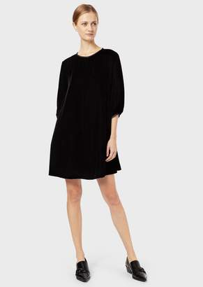 Emporio Armani Velvet Tunic Dress With Puffed Sleeves