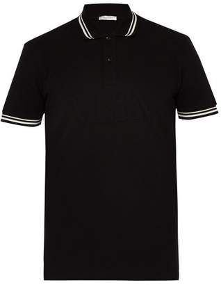 Valentino Vltn Logo Embossed Cotton Pique Polo Shirt - Mens - Black