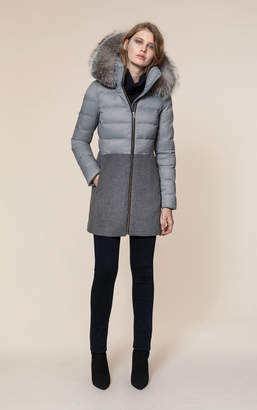 Soia & Kyo VELMA-FX mid length mixed media coat with removable fur