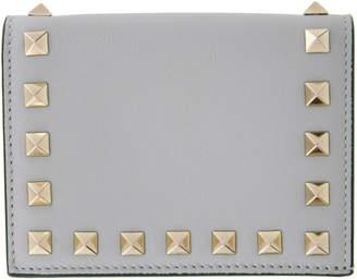 Valentino Grey Garavani Rockstud French Flap Wallet