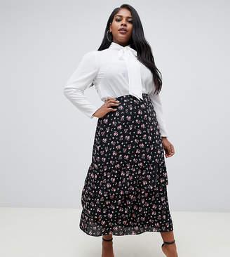 Fashion Union Plus plus midi skirt in dark floral