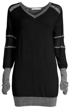 Blanc Noir Women's Spirit Mesh-Paneled Long-Line Sweater - Black - Size XS