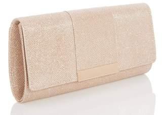 Quiz Gold Shimmer Panel Clutch Bag