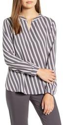 Anne Klein Bias Stripe Split Neck Blouse