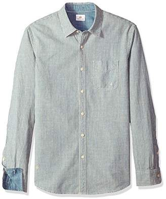 AG Adriano Goldschmied Men's Nelson Long Sleece Stripe Chambray Button Down Shirt