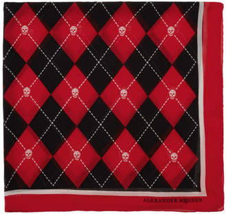 Alexander McQueen Red and Black Argyle Scarf