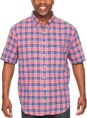 Izod Saltwater Printed Dockside Chambray Short Sleeve Plaid Button-Front Shirt-Big and Tall