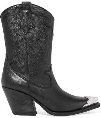 McQ Tammy Embellished Textured-leather Ankle Boots - Black