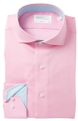 Lorenzo Uomo Solid Oxford Trim Fit Dress Shirt