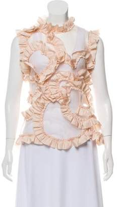 Moncler Ruffle-Accented Sleeveless Top pink Ruffle-Accented Sleeveless Top