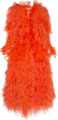 Mary Katrantzou Feather-Embellished Ruffled Silk-Organza Dress