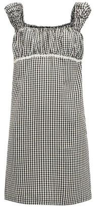 Solid & Striped Off The Shoulder Gingham Seersucker Mini Dress - Womens - Black White