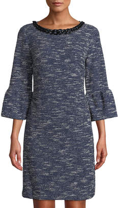 Karl Lagerfeld Paris 3/4 Bell-Sleeve Tweed Shift Dress w/ Necklace